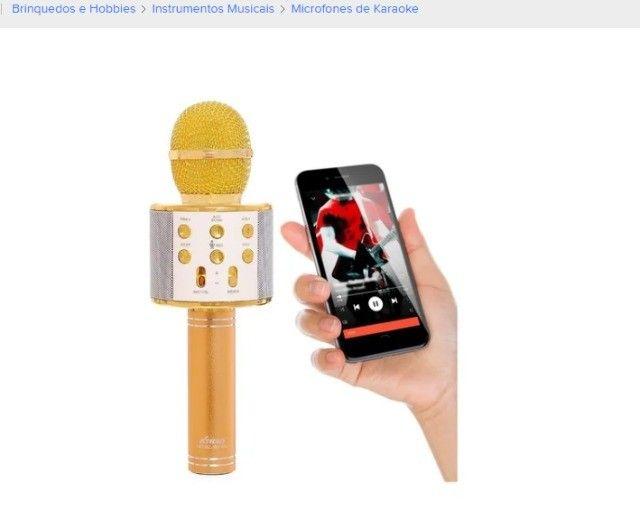 Microfone sem fio Tomate MT-1036 dourado com alto-farlantes - Foto 2