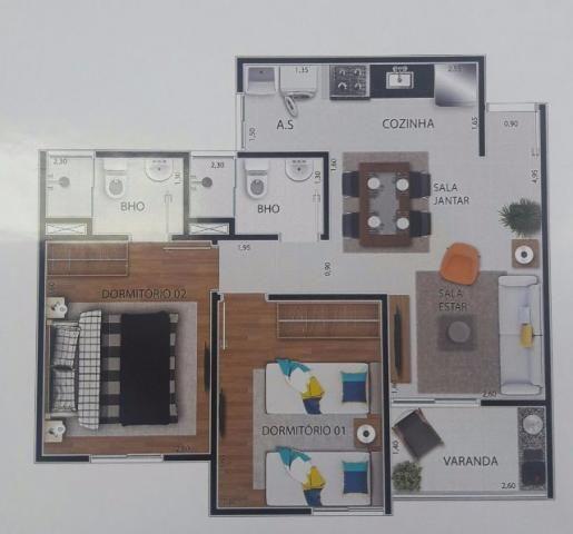 Napoli Aptos 2 Dorms 59m2 1 Suíte,Varanda Grill Lazer Completo 1 e 2 Vagas - Foto 13