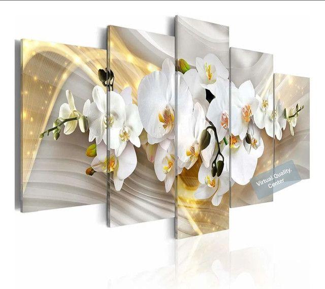 Quadro Decorativo Personalizado Mosaico 5 Peças- Orquídea
