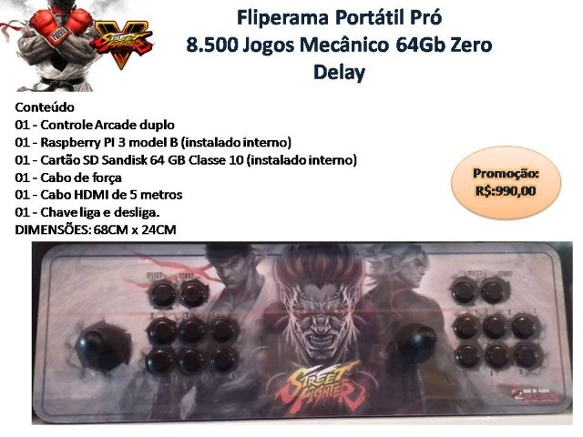 Fliperama Portátil Pró 8.500 Jogos Mecânico 64Gb Zero Delay