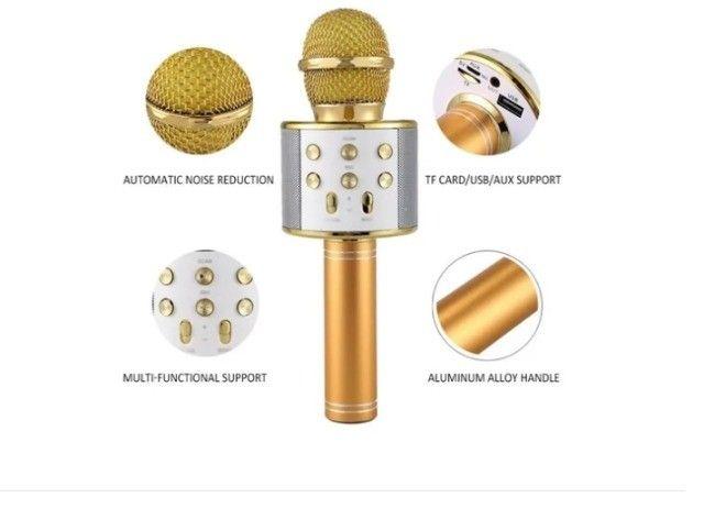 Microfone sem fio Tomate MT-1036 dourado com alto-farlantes - Foto 4
