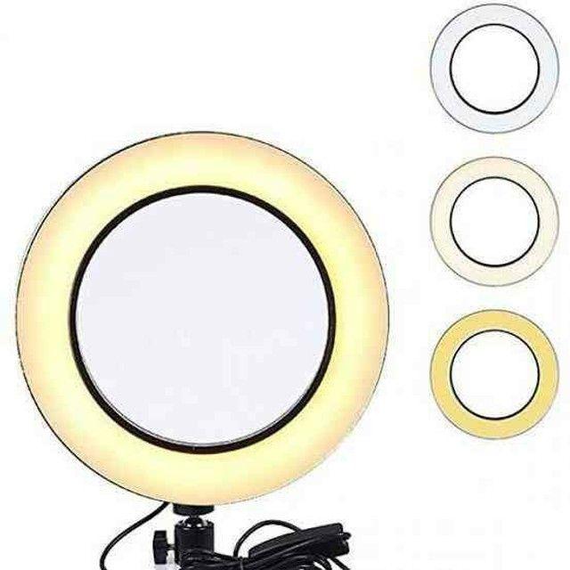Iluminador RING LIGHT 26 cm com Tripé  + suporte central - Foto 6