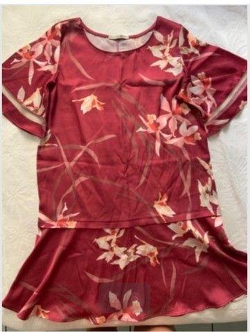 Vestido Luigi Bertolli tecido estilo seda tamanho P - Foto 2