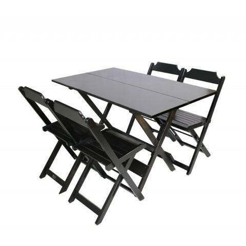 Mesa Para Bar e Restaurante com 4 Cadeiras ? Dobrável ? 1,20 x 0,70 ? Madeira