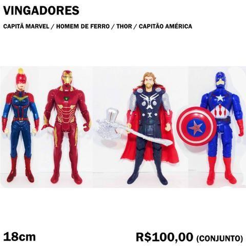 Conjunto Vingadores Capitã Marvel, Homem de Ferro, Thor, Capitão América