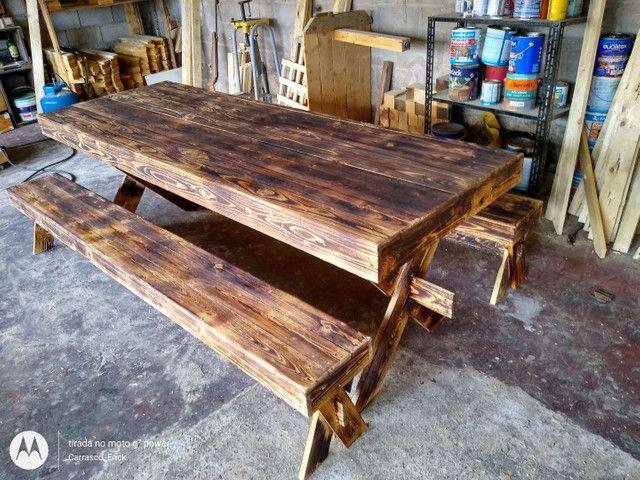 Mesa de jantar rústica Pallet - Foto 2
