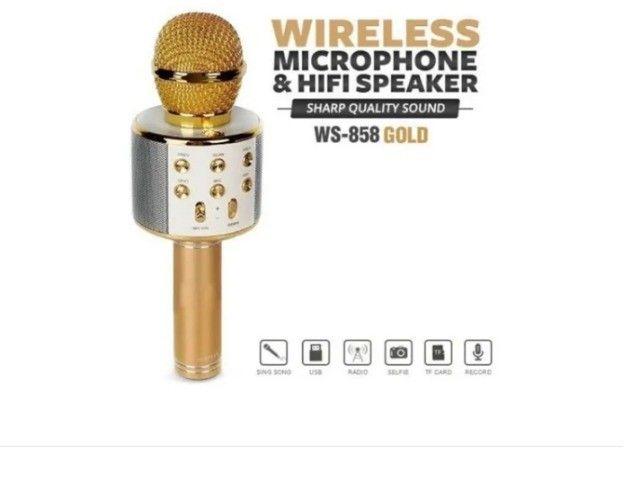 Microfone sem fio Tomate MT-1036 dourado com alto-farlantes - Foto 3