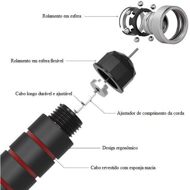Corda De Pular Crossfit Speed Rope Com Rolamento Ajustável Exercício Funcional Academia - Foto 4