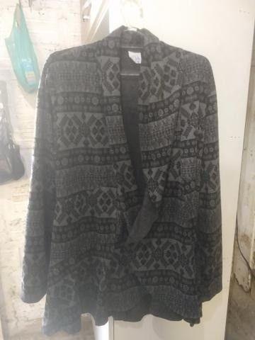Casaco de lã Batida e Cardigã - Foto 2