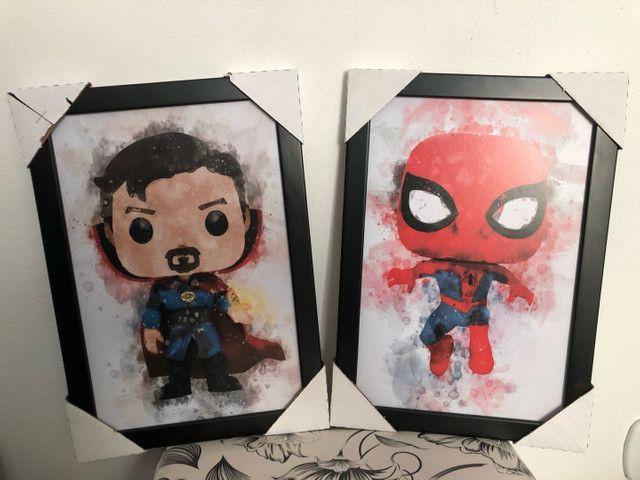 Quadros decorativos Heróis Marvel p/ quartos.