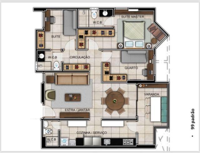 Com 99,5m², 03Quartos em Construção!! Próximo a Corredor Vera Arruda - Foto 7