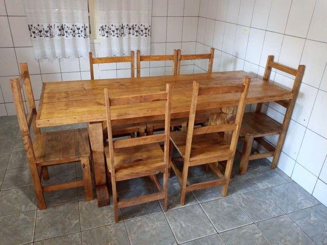 Mesa com 6 cadeiras rustica - Foto 3