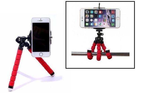 Tripé Para Celular Flexivel E Camera Vermelho - Foto 4