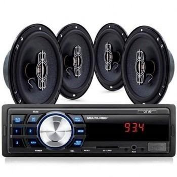 Kit Radio Som Automotivo Mp3 Multilaser One + 4 Alto Falantes De 6 Quadrixiais 60w Rms Au9