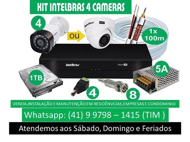 Kit Intelbras com 04 Câmeras instaladas com acesso pelo celular