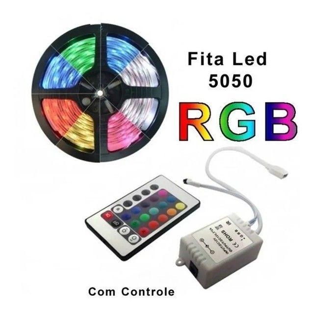 Fita led 5050 Colorida 16 cores c/ fonte - Foto 2