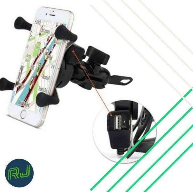 Suporte Garra Para Celular Moto Universal Com Carregador Usb.