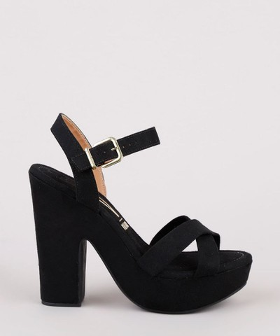 sandália feminina vizzano salto alto grosso meia pata em suede preta<br><br> - Foto 2