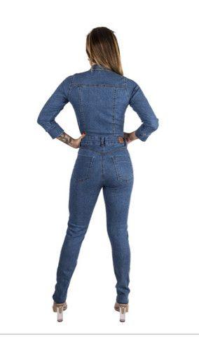 Macacão longo jeans manguinha feminino - Foto 2