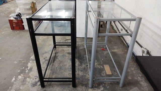 Balcão para loja ferro com tampo de vidro  - Foto 2