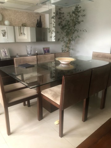 Mesa com tampo de vidro 8 lugares - Foto 3