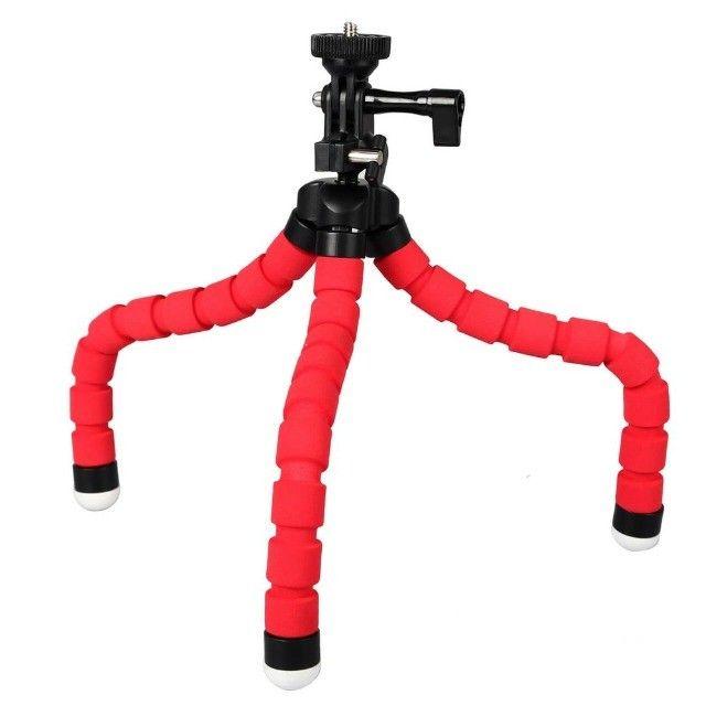 Tripé Para Celular Flexivel E Camera Vermelho - Foto 3
