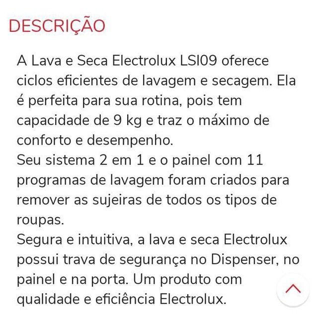 Lava e seca Electrolux 1.700,00 EXTRA!! - Foto 3