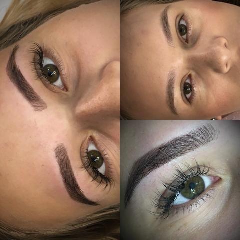 Design de sobrancelhas com henna + extensão de cílios