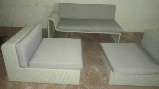 Jogo de sofá de fibra sintética