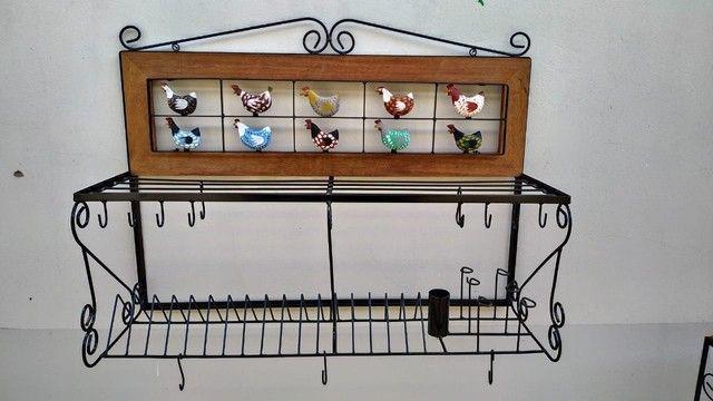 Escorredor e prateleira rústico vários tamanhos e temas  - Foto 2