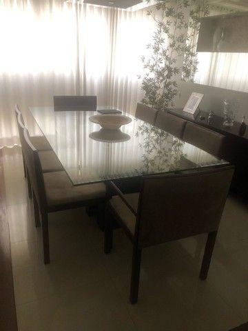 Mesa com tampo de vidro 8 lugares - Foto 2