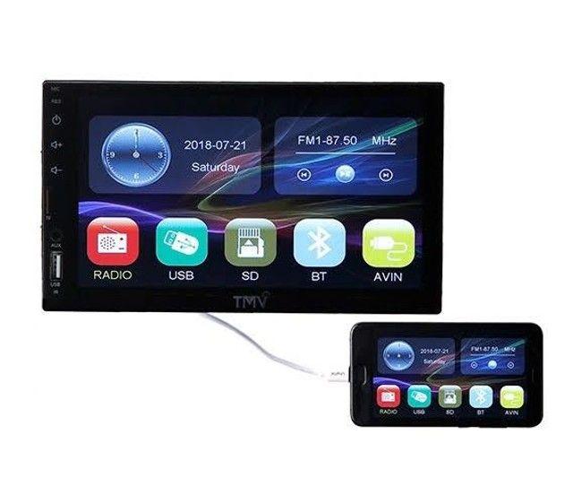 Central multimídia universal espelhamento celular touch screen LCD 7 polegadas - TMV