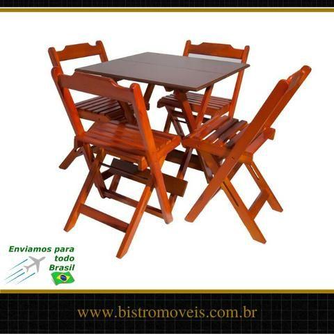 Conjunto Mesa Bar Dobravel 70x70 - Madeira - Resistente a Umidade