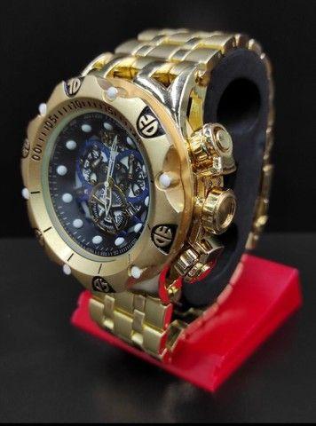Relógio Masculino Invicta Dourado Grande 100% Prova d?água  - Foto 3