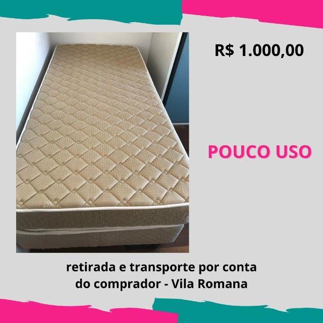 Colchão Castor molas de solteiro + cama box + colchão acoplado - pouco uso - Foto 2