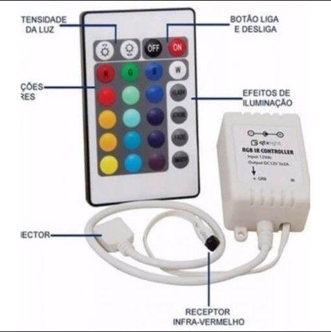 Fita led 5050 Colorida 16 cores c/ fonte - Foto 5