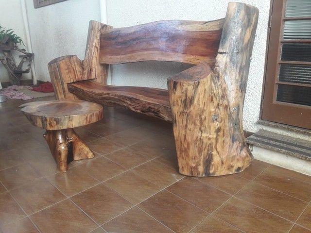 banco de madeira + mesa de madeira rústica  - Foto 2