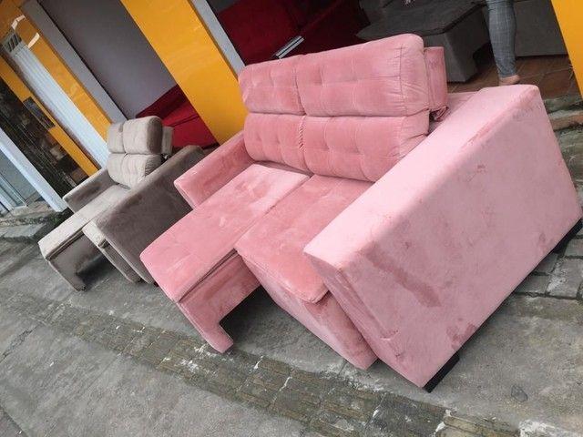 Sofá retrátil reclinável de todas as cores e tecidos! - Foto 4