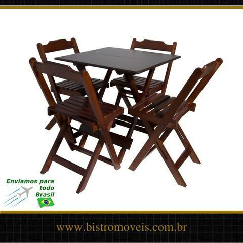 Conjunto Mesa Bar Dobravel 70x70 - Madeira - Resistente a Umidade - Foto 2