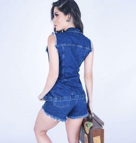 Max Colete Jeans Feminino - Foto 2