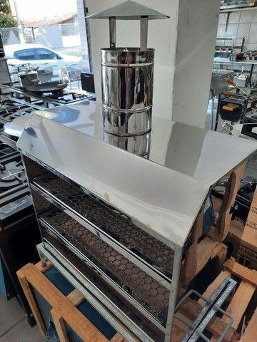 Churrasqueira de bancada em inox 2 grelhas 60x35 cm  - Foto 2