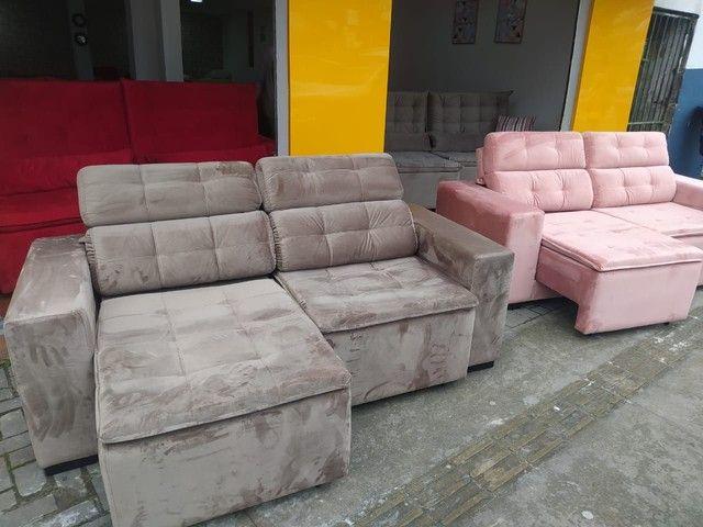 Sofá retrátil reclinável de todas as cores e tecidos! - Foto 6