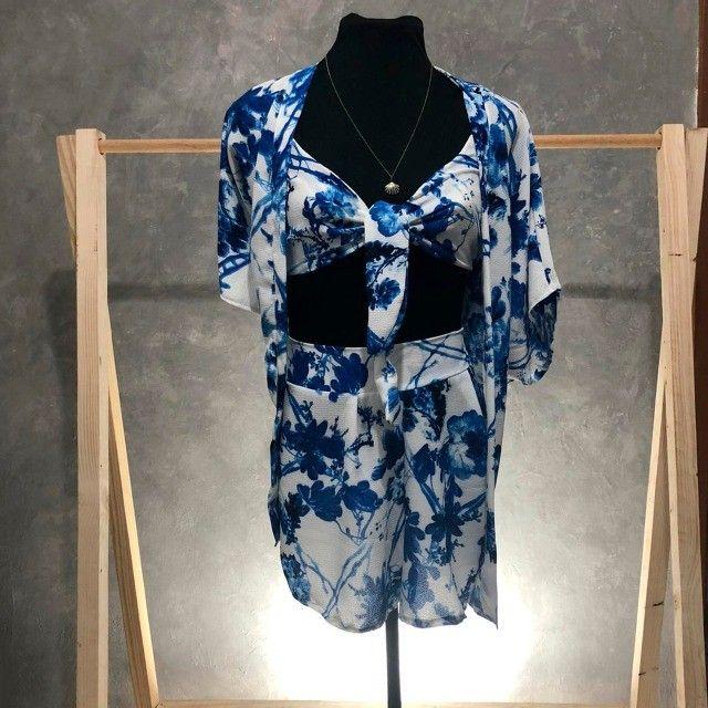 Conjunto cropped, short e kimono - Foto 2