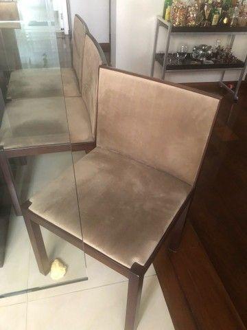 Mesa com tampo de vidro 8 lugares - Foto 5