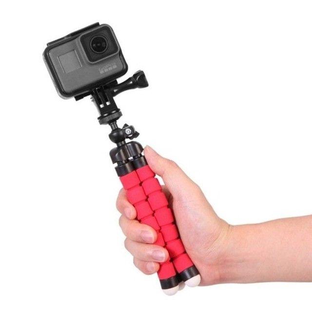 Tripé Para Celular Flexivel E Camera Vermelho - Foto 6