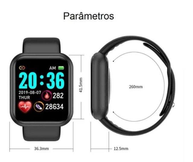 Smartwatch D20/Y68 com Monitor cardiaco e Bluetooh resistente a água para Android/IOS - Foto 5