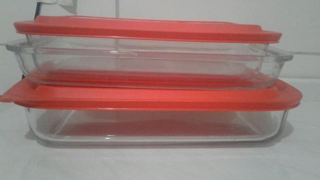 4 lasanheiras retangulares marinex com tampa pelo preço de duas