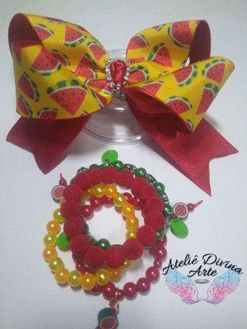 Conjunto de laço e pulseiras - Foto 5