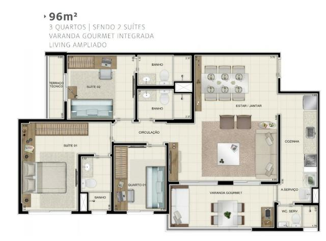 Jardim Valencia,96m² ,3 Quartos com 2 Suítes,02 Vaga de Garagem,Augusto Montenegro - Foto 2