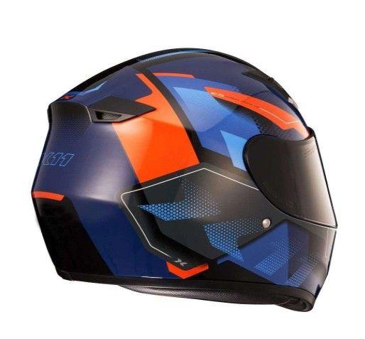 capacete x11 trust Pro Transit _ Azul com Laranja